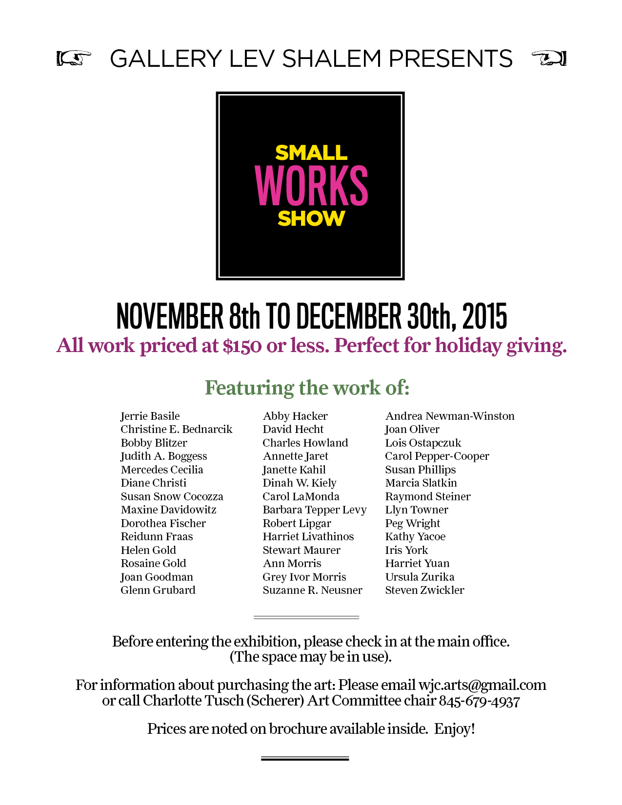 2nd Annual Small Works Show: November 8 - December 30, 2015